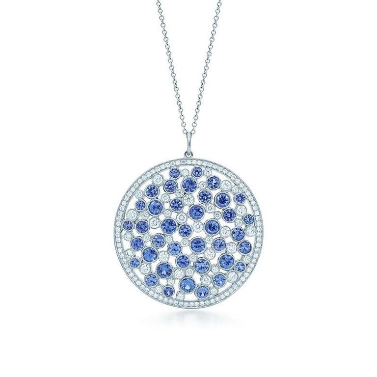 Round Cut Tiffany & Co. Diamond & Sapphire Cobblestone Medallion Pendant in Platinum For Sale