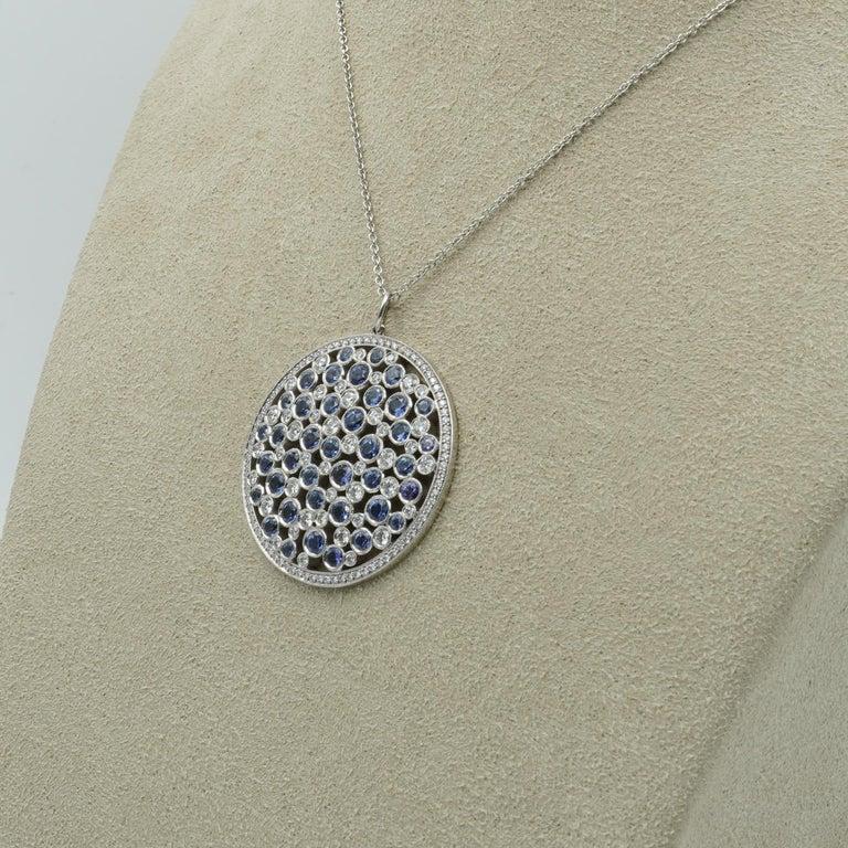 Tiffany & Co. Diamond & Sapphire Cobblestone Medallion Pendant in Platinum In Excellent Condition For Sale In Carmel, IN
