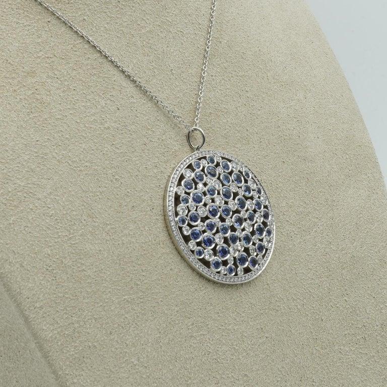 Women's Tiffany & Co. Diamond & Sapphire Cobblestone Medallion Pendant in Platinum For Sale