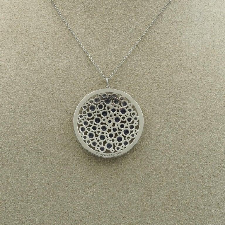 Tiffany & Co. Diamond & Sapphire Cobblestone Medallion Pendant in Platinum For Sale 1