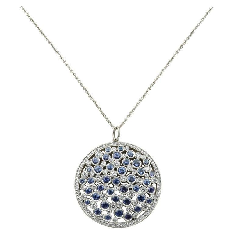 Tiffany & Co. Diamond & Sapphire Cobblestone Medallion Pendant in Platinum For Sale