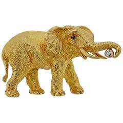 Tiffany & Co. Diamond Sapphire Gold Elephant Brooch Pin