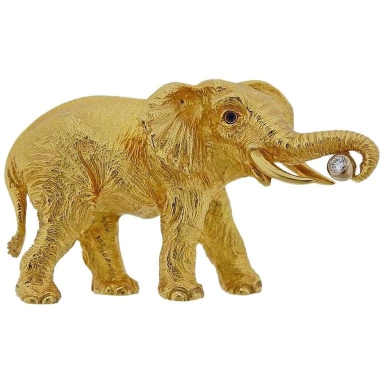 Tiffany & Co. Diamond Sapphire Gold Elephant Brooch Pin For Sale