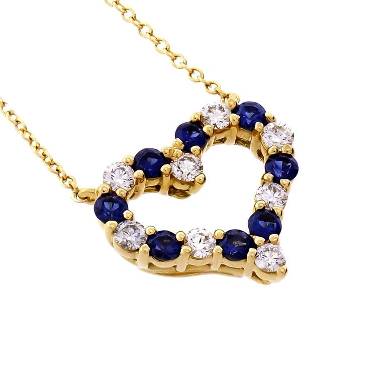 88caa3f9b Tiffany & Co. Diamond Sapphire Open Heart Gold Pendant Necklace For Sale