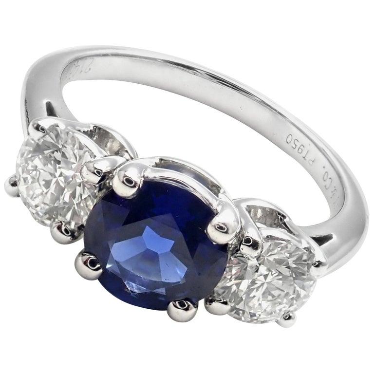 Tiffany And Co Diamond Sapphire Three Stone Platinum Band