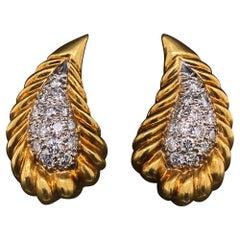 Tiffany & Co Diamond Set 18 Karat Yellow and White Gold Teardrop Clip Earrings