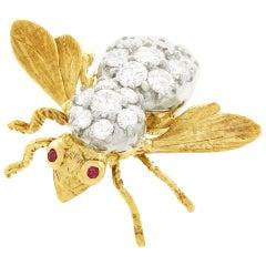 Tiffany & Co. Diamond Set Gold Bee Brooch
