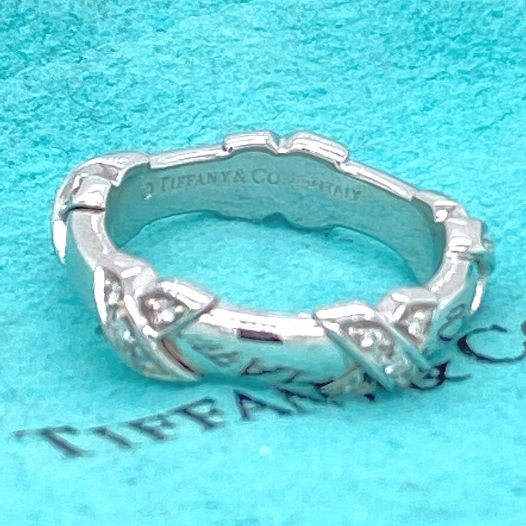 Round Cut Tiffany & Co Diamond Signature X Ring in 18 Karat White Gold For Sale