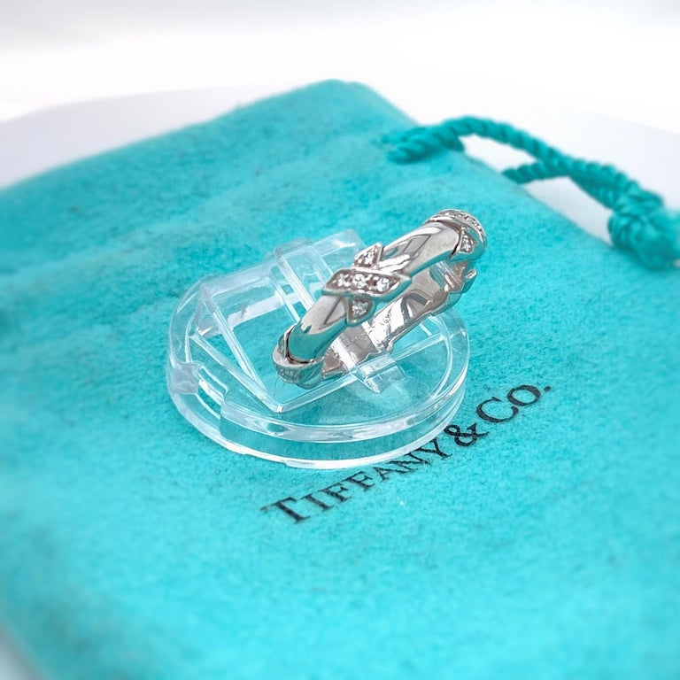 Tiffany & Co Diamond Signature X Ring in 18 Karat White Gold In Excellent Condition For Sale In San Diego, CA
