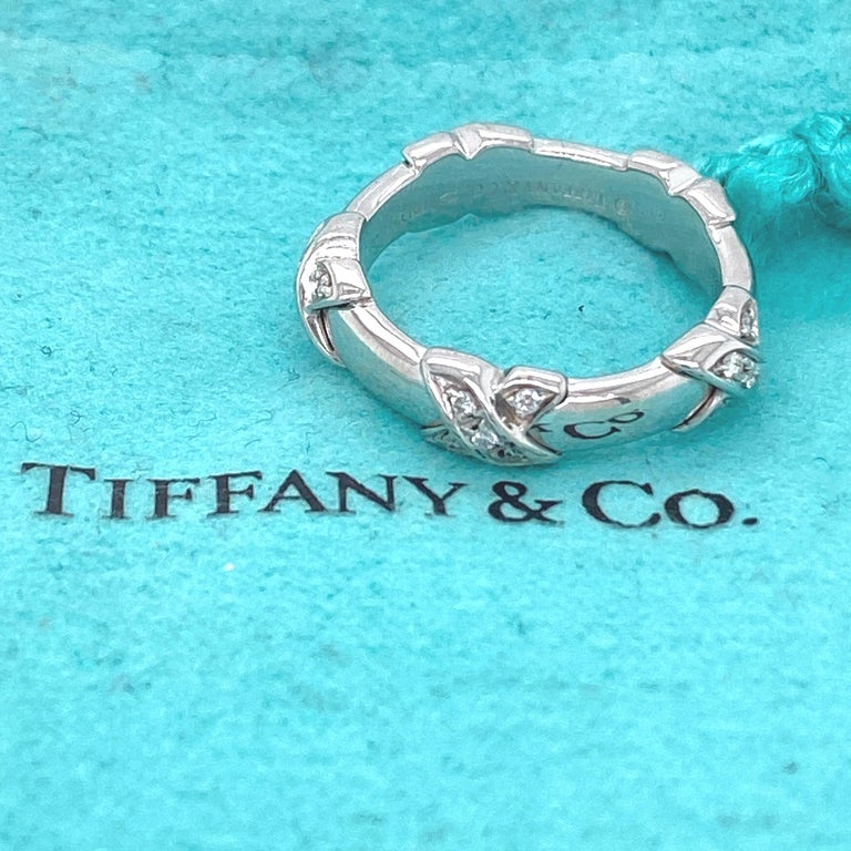 Women's or Men's Tiffany & Co Diamond Signature X Ring in 18 Karat White Gold For Sale
