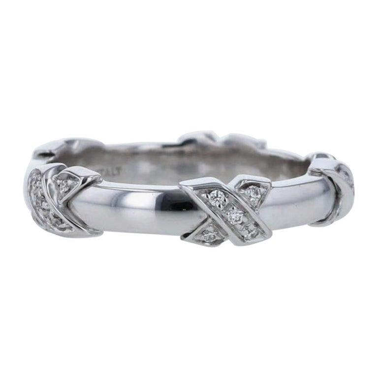 Tiffany & Co Diamond Signature X Ring in 18 Karat White Gold For Sale