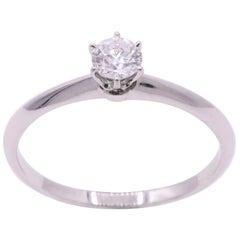 Tiffany & Co. Diamond Solitaire Engagement Ring 0.24 Carats E VVS2 Platinum