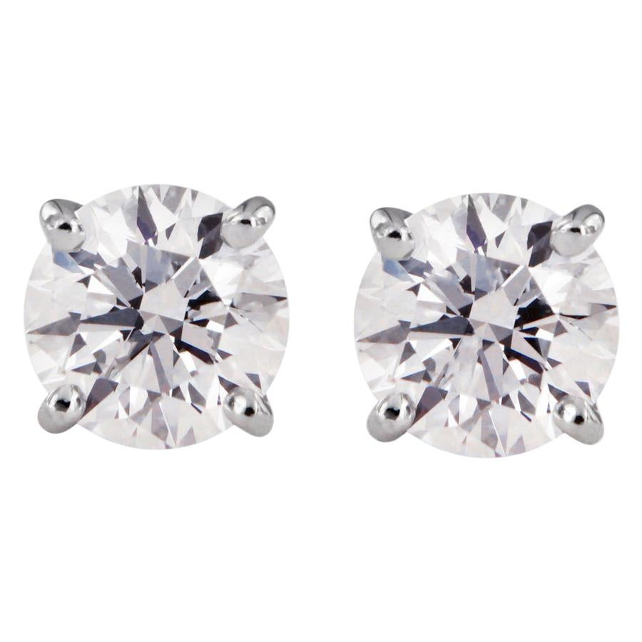 Tiffany & Co. Diamond Solitaire Platinum Stud Earrings 3.1 Carat
