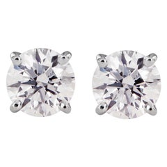 Tiffany & Co. Diamond Solitaire Platinum Stud Earrings 3.1 Carat