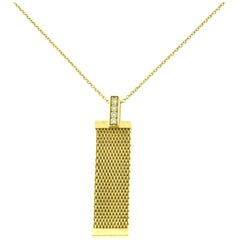 Tiffany & Co. Diamond Somerset Mesh Long Yellow Gold Pendant Necklace