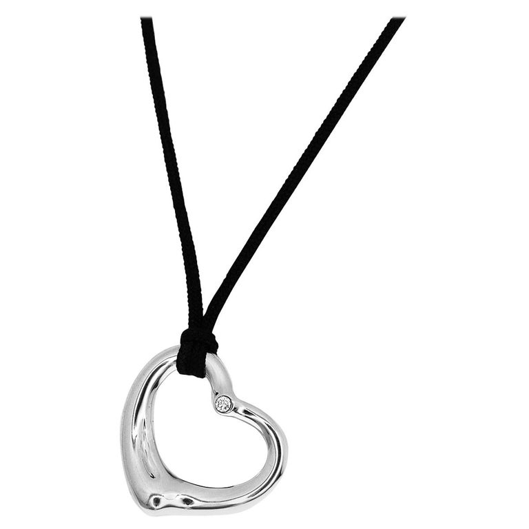 Tiffany And Co Diamond Sterling Silver Black String Open Heart Pendant Necklace For Sale At 1stdibs