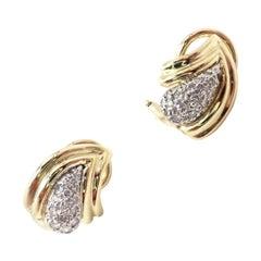 Tiffany & Co. Diamond Teardrop Yellow Gold Earrings