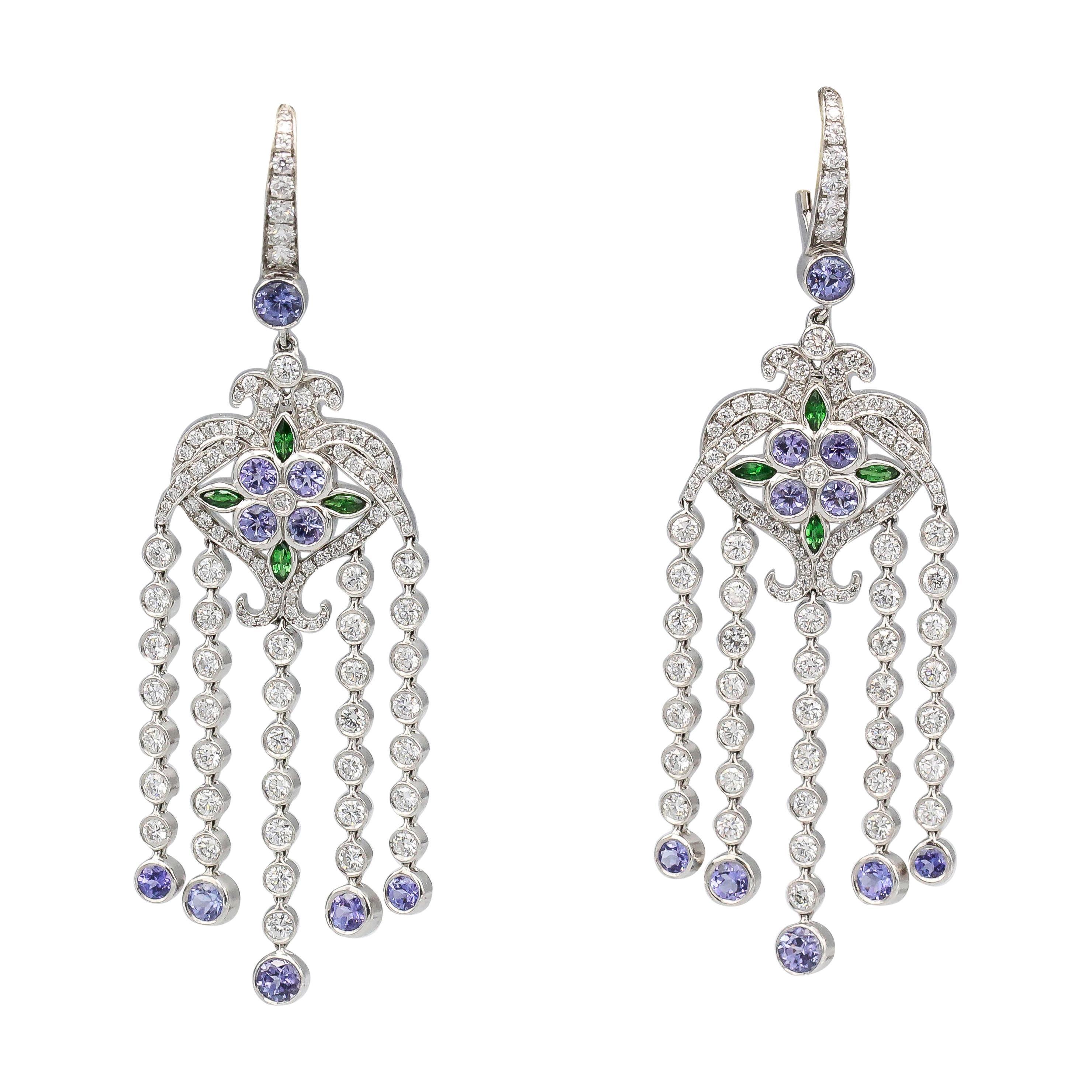 Tiffany & Co. Diamond Tsavorite Tanzanite and Platinum Dangle Earrings