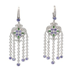 Tiffany & Co. Diamond Tsavorite Tanzanite and Platinum Dangle Earrings
