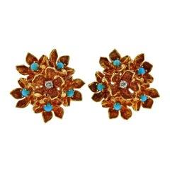 Tiffany & Co. Diamond Turquoise Gold Flower Earrings