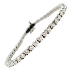 Tiffany & Co. Diamond Victoria Line Bracelet 4.49 Carat Round Diamond Platinum