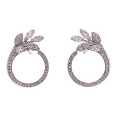 Tiffany & Co. Diamond Vine Circle Platinum Earrings Victoria Collection