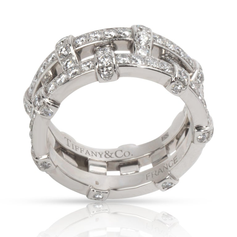 Tiffany & Co. Diamond Woven Double Eternity Bands, in Platinum (2/1 CTW)  PRIMARY DETAILS SKU: 101424 Listing Title: Tiffany & Co. Diamond Woven Double Eternity Bands, in Platinum (2/1 CTW) Condition Description: In excellent condition and recently