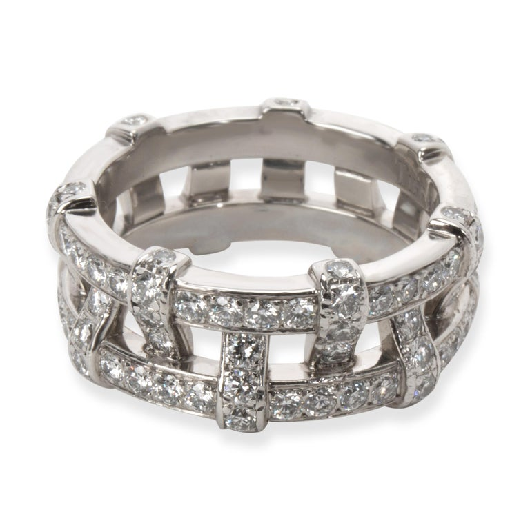 Round Cut Tiffany & Co. Diamond Weave Eternity Band in Platinum '1.40 Carat' For Sale