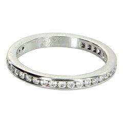 Tiffany & Co Diamond Wedding Band Ring Platinum Estate Signed Jewelry