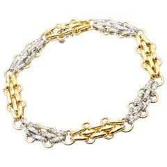 Tiffany & Co Diamond Yellow and White Gold Link Bracelet