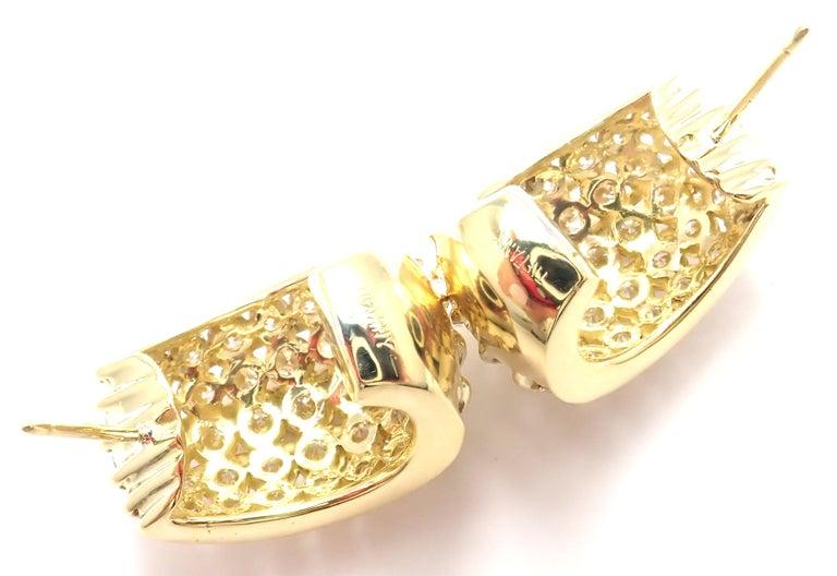 Tiffany & Co. Diamond Yellow Gold Hoop Earrings For Sale 6