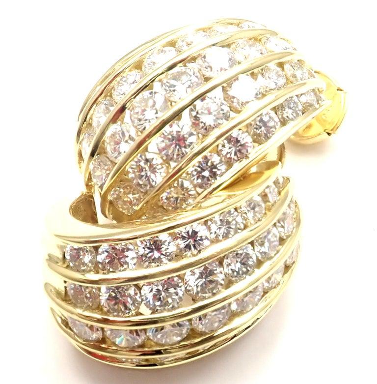 Tiffany & Co. Diamond Yellow Gold Hoop Earrings For Sale 8