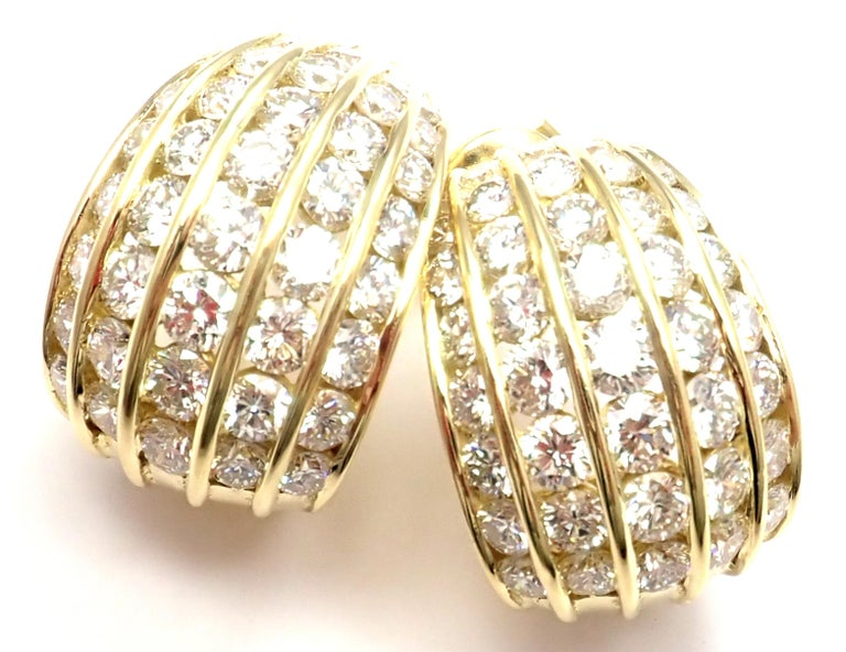 18k Yellow Gold Diamond Hoop Earrings by Tiffany & Co.  With 80 round brilliant cut diamonds VS1 clarity, G color total weight approximately 6.5ct  These earrings are for pierced ears. Details:  Weight: 16.3 grams Dimensions: 22mm x 15mm Stamped