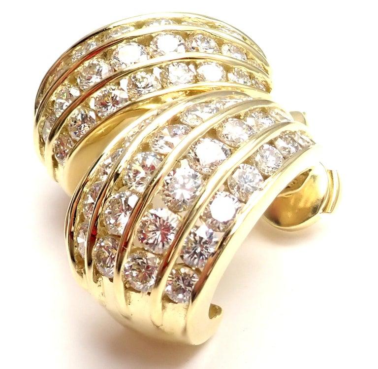 Women's or Men's Tiffany & Co. Diamond Yellow Gold Hoop Earrings For Sale