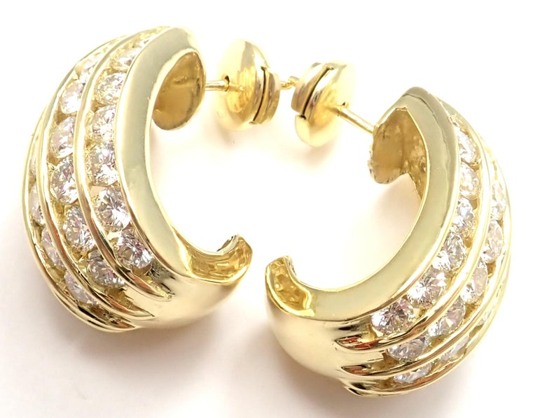 Tiffany & Co. Diamond Yellow Gold Hoop Earrings For Sale 1