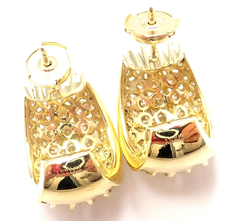 Tiffany & Co. Diamond Yellow Gold Hoop Earrings For Sale 2