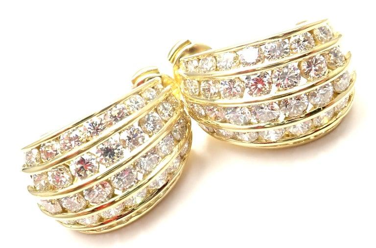 Tiffany & Co. Diamond Yellow Gold Hoop Earrings For Sale 3