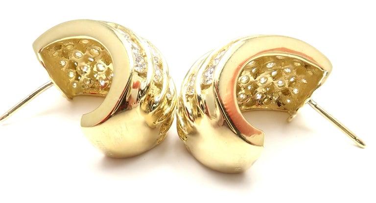 Tiffany & Co. Diamond Yellow Gold Hoop Earrings For Sale 4