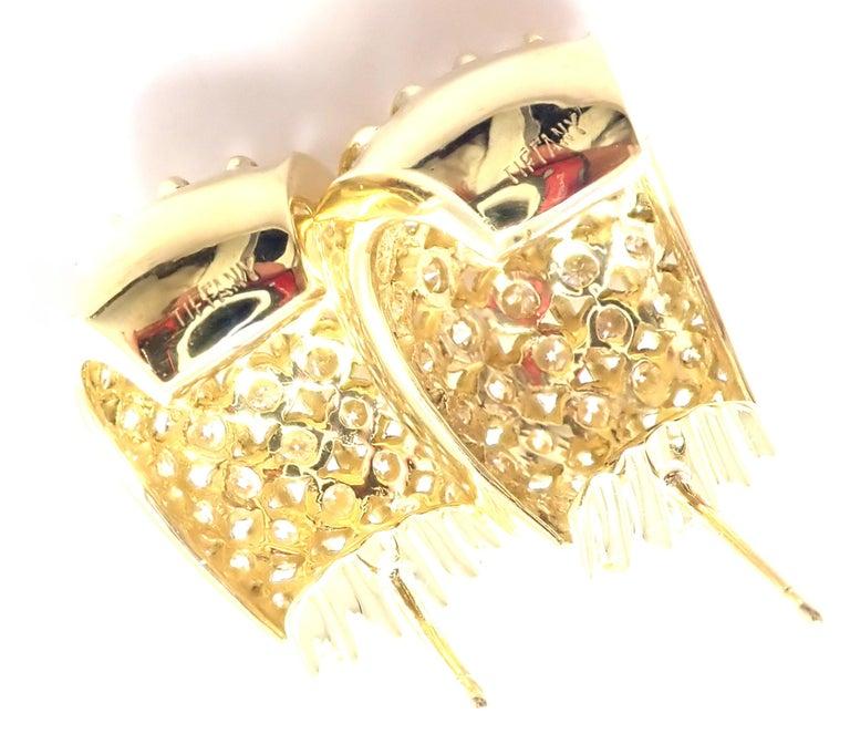 Tiffany & Co. Diamond Yellow Gold Hoop Earrings For Sale 5