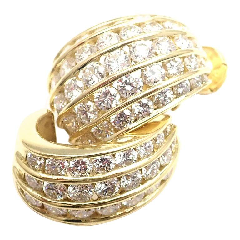 Tiffany & Co. Diamond Yellow Gold Hoop Earrings For Sale