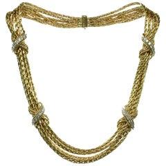 Tiffany & Co. Diamond Yellow Gold Multi-Strand Necklace