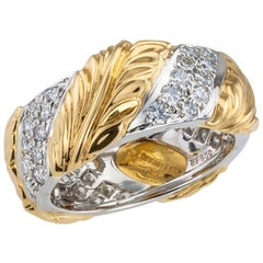 Tiffany & Co. Diamond Yellow Gold Platinum Wedding Band