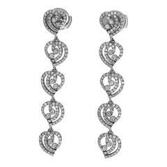 Tiffany & Co. Diamonds Platinum Enchant Heart Long Studs Earring