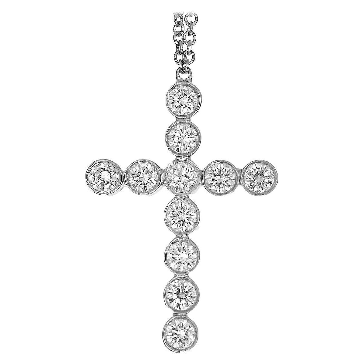Tiffany & Co. Diamonds Platinum Jazz Cross Pendant Necklace