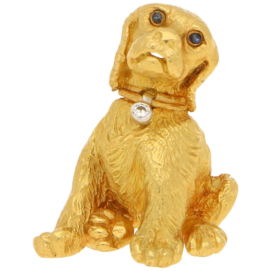Tiffany & Co. Diamond and Sapphire Puppy Brooch Set in 18k Yellow Gold
