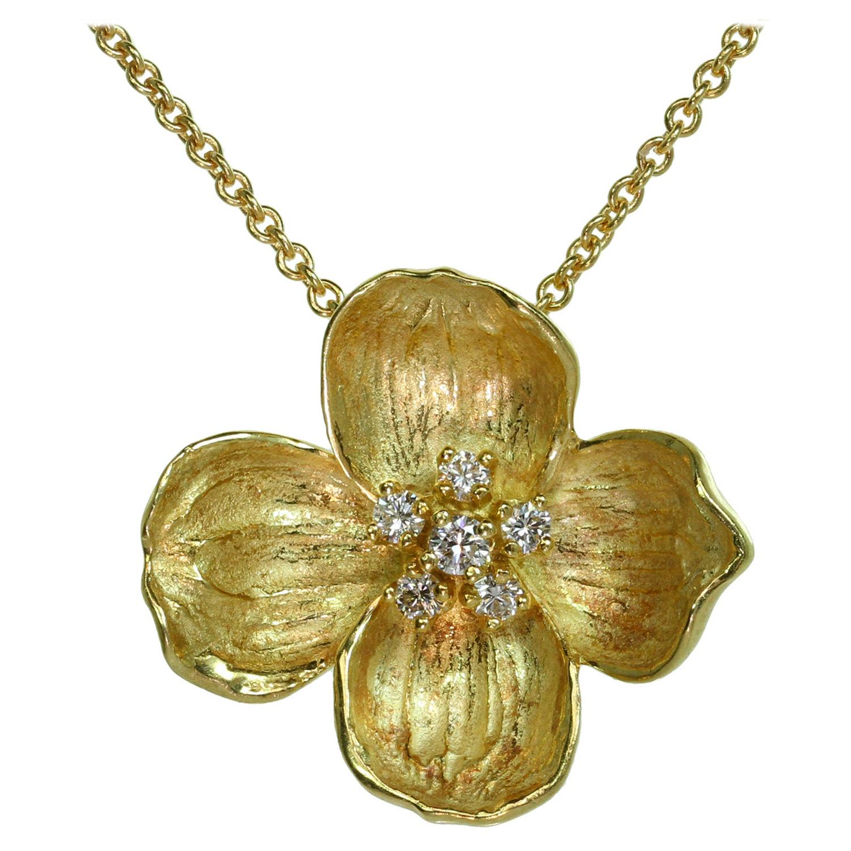 Tiffany & Co. Dogwood Diamond Yellow Gold Flower Pendant Necklace