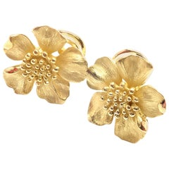 Tiffany & Co Dogwood Wild Rose Yellow Gold Earrings