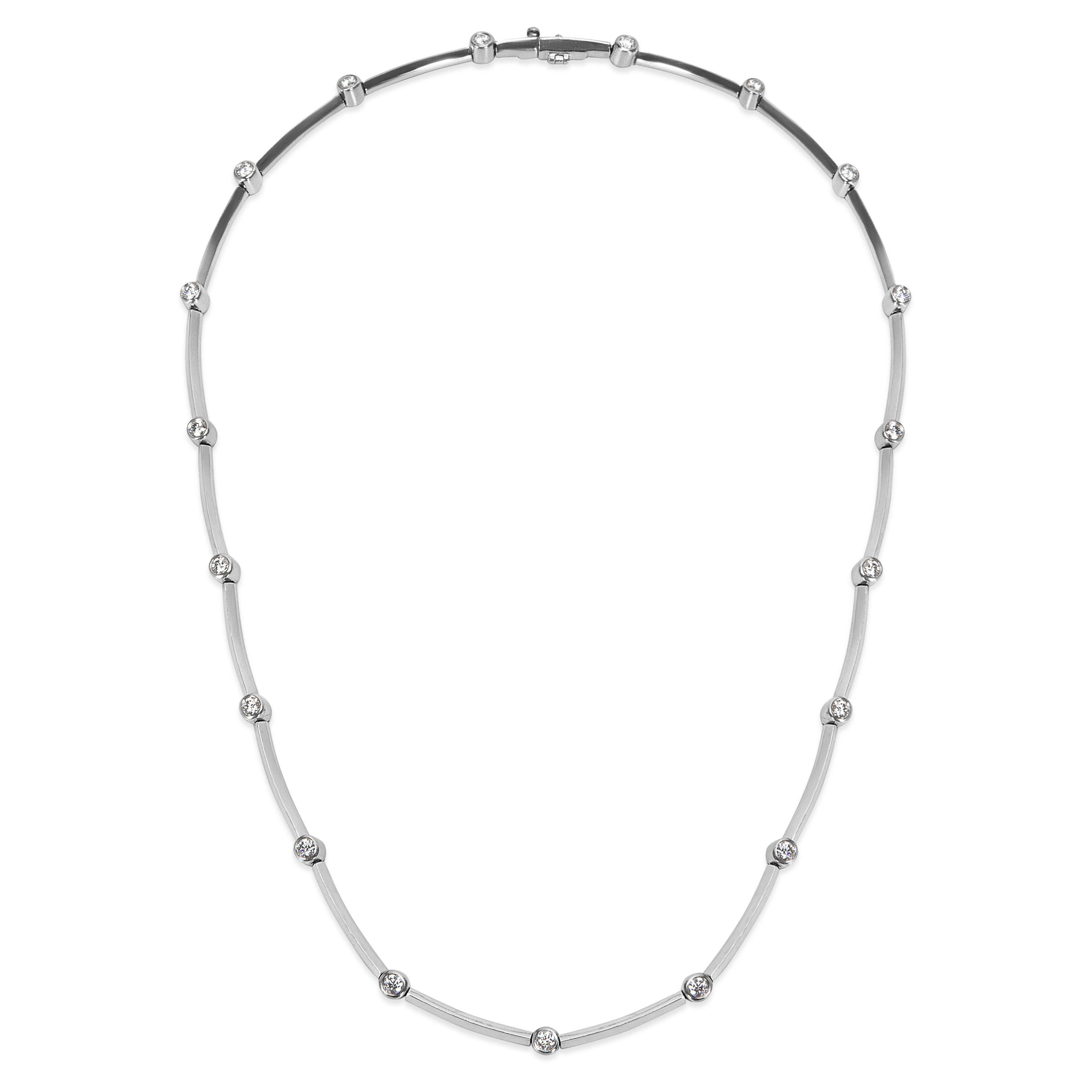 Tiffany And Co Dot And Dash Diamond Necklace In Platinum 1 90 Ctw