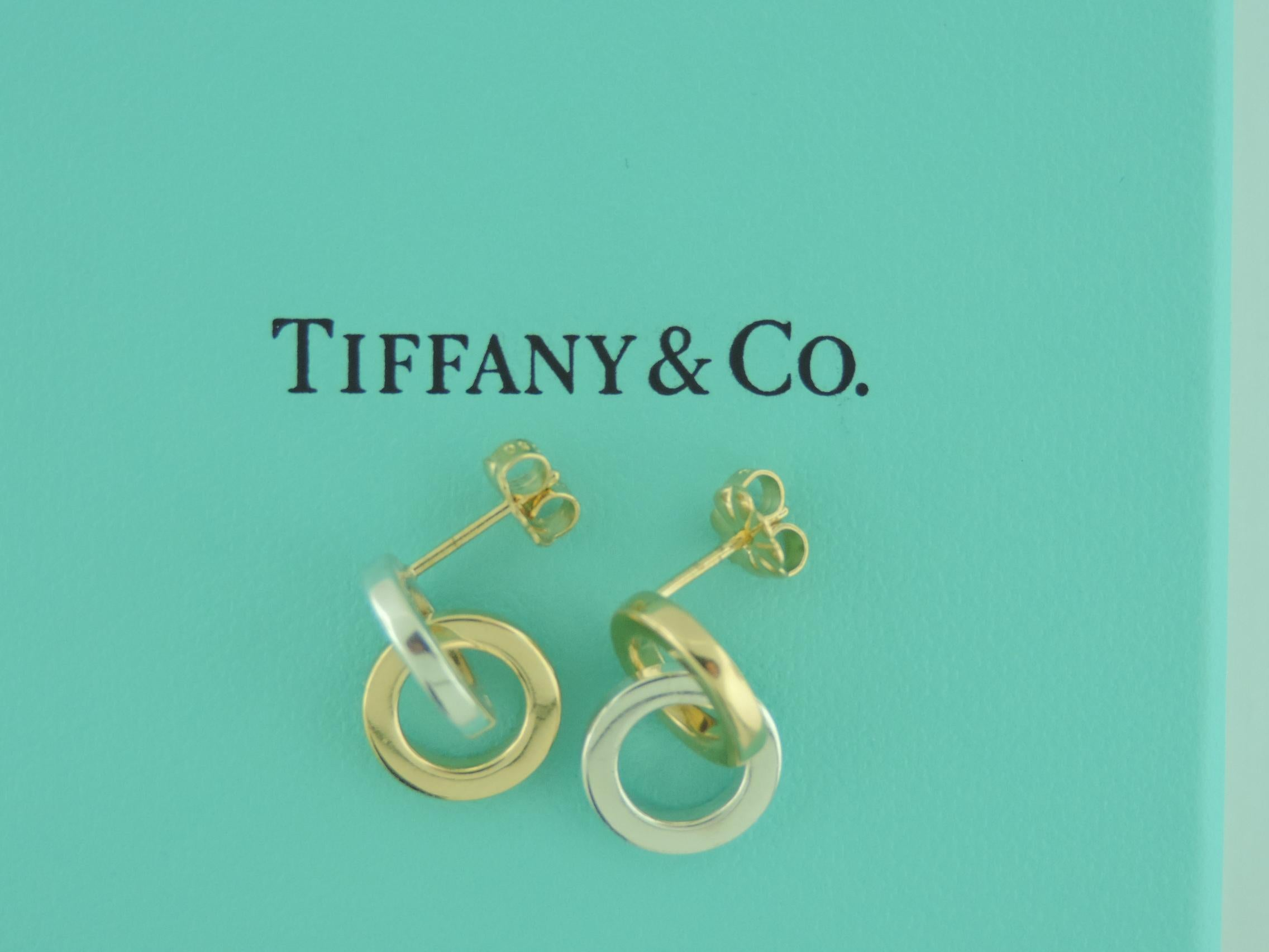 8fa7649f6 Tiffany and Co. Double Circle Two-Tone 18 Karat Gold and Sterling Silver  Earrings at 1stdibs
