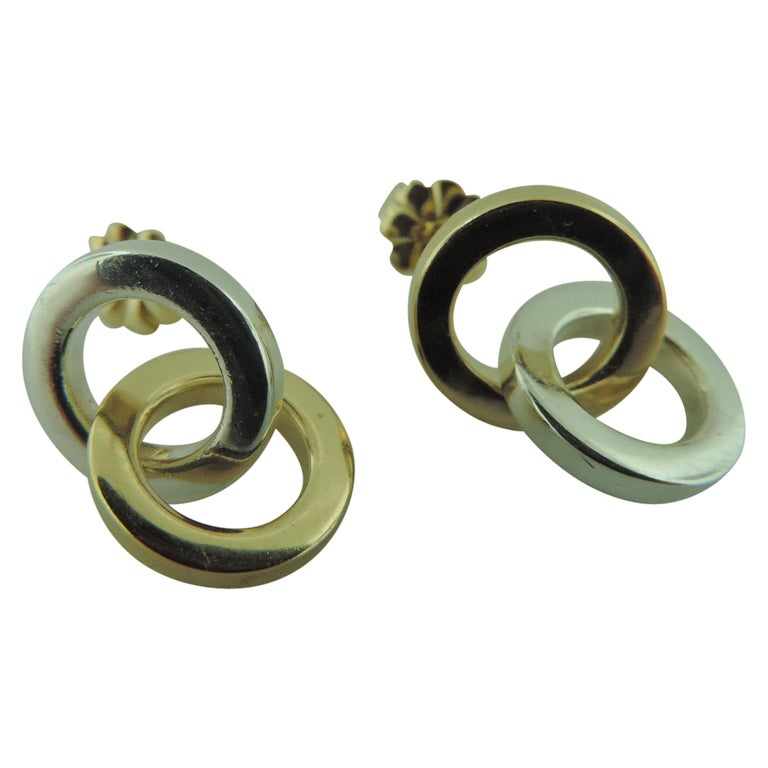 5847a2684 Tiffany & Co. Double Circle Two-Tone 18 Karat Gold and Sterling Silver  Earrings